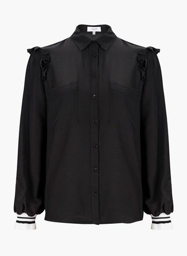 Omuzları Fırfırlı Uzun Kollu Gömlek Bluz-Twist